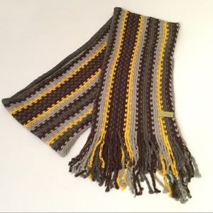 Unisex Knit Neck Scarf ECHO Brown Gray Yellow